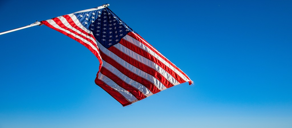 Flying flag of the USA