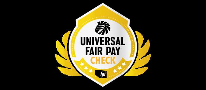 Das Logo für die Auszeichnung Universal Fair Pay Check